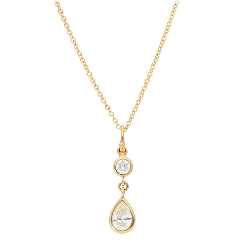 Deutsch Signature Diamond Bezel Round and Pear Drop Pendant