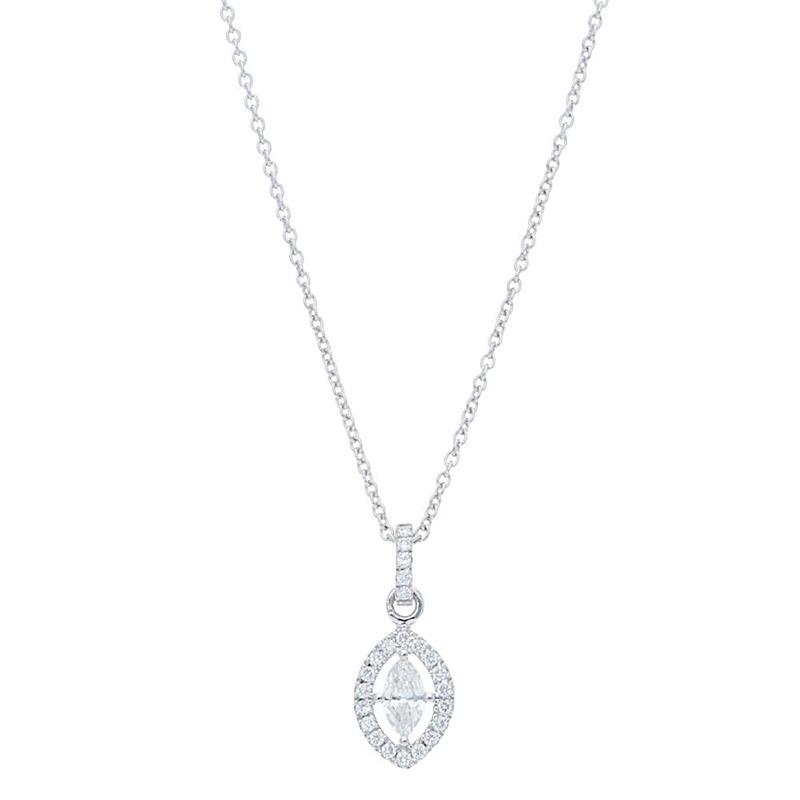 Deutsch Signature Marquise Diamond Open Halo Pendant