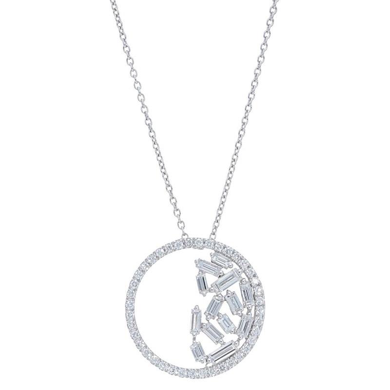 Deutsch Signature Half Diamond Cluster Circle Pendant