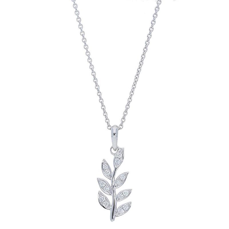 Deutsch Signature Pave Diamond Leaf Pendant
