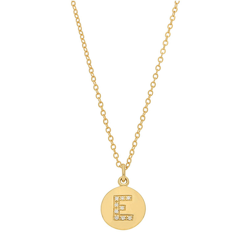 Deutsch Signature Disc Pendant with Pave Diamond Letter