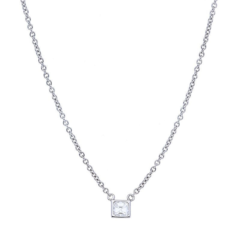 Deutsch Signature Sideways Asscher Bezel Diamond Necklace