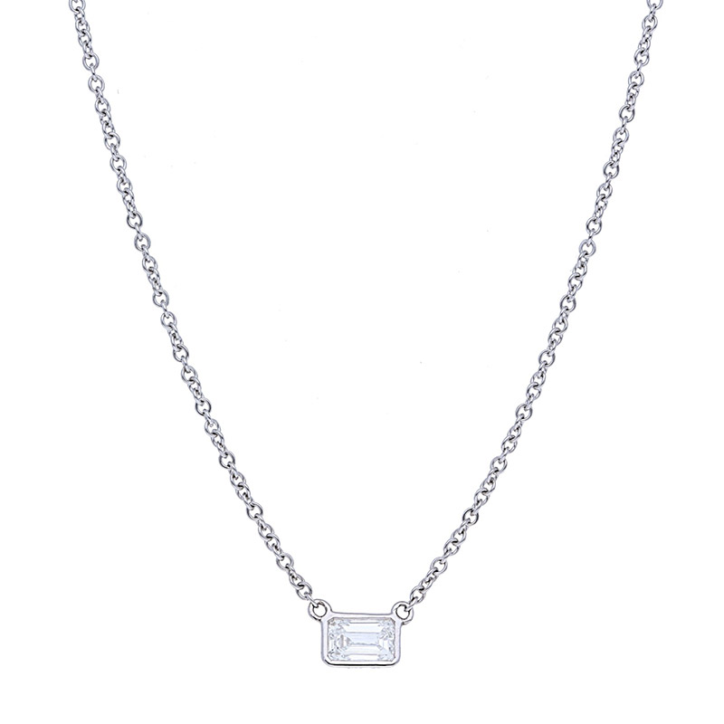 Deutsch Signature Sideways Emerald Bezel Diamond Necklace