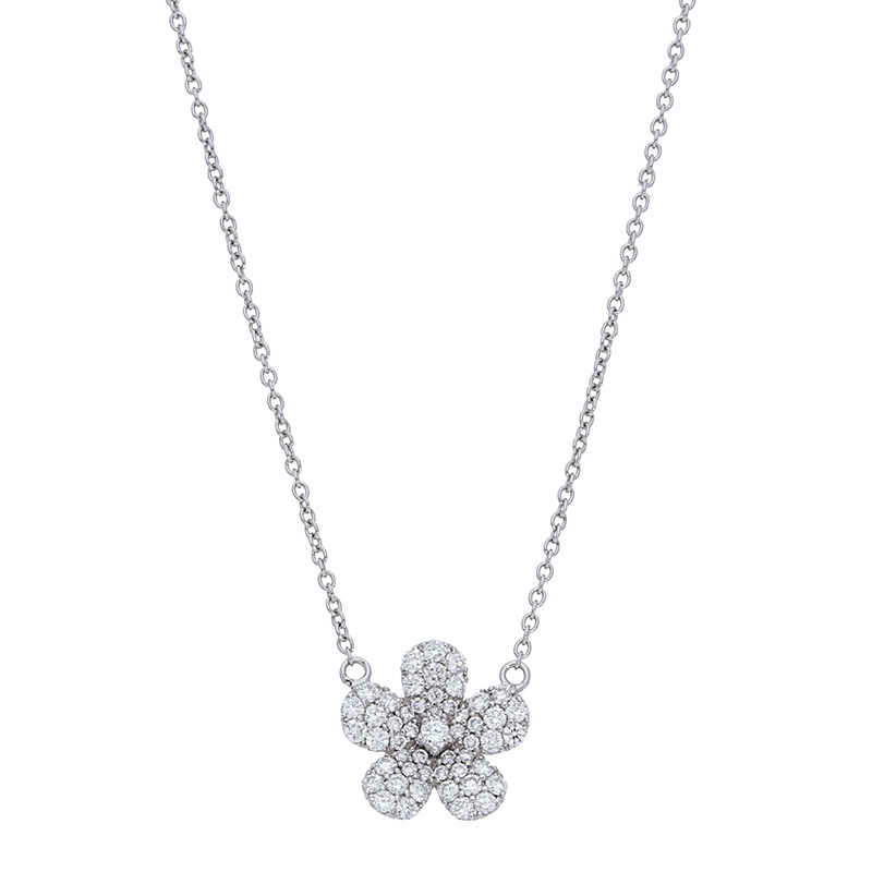 Deutsch Signature Pave Diamond Flower Necklace