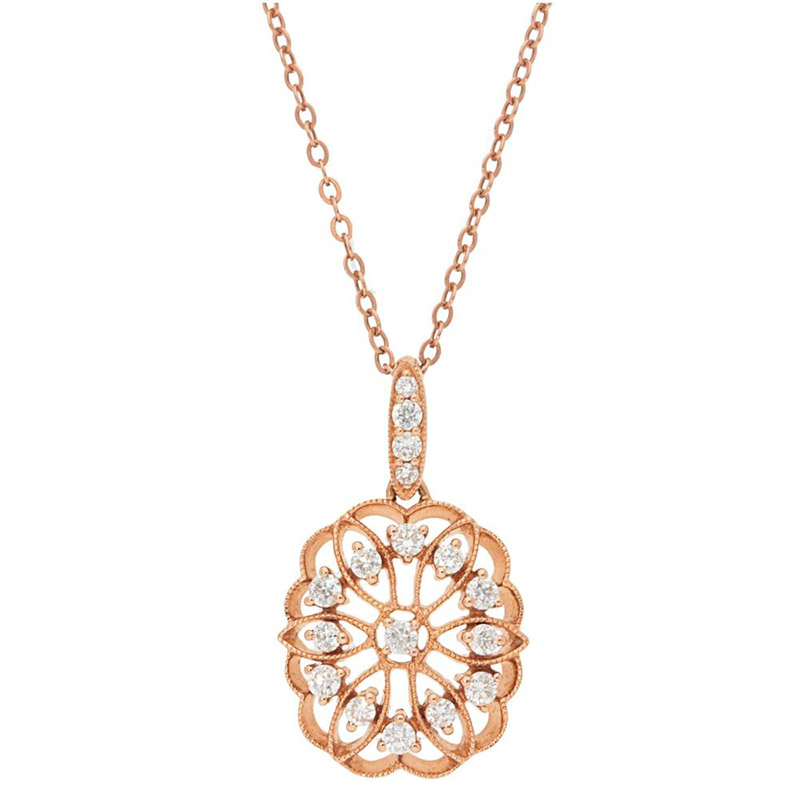 Deutsch Signature Diamond Antique Oval Pendant