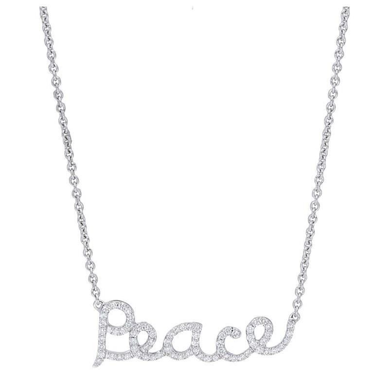 Deutsch Signature Pave Diamond Peace Necklace