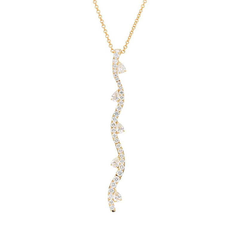 Deutsch Signature Wavy Pave Diamond Drop with Pear Diamond Pendant