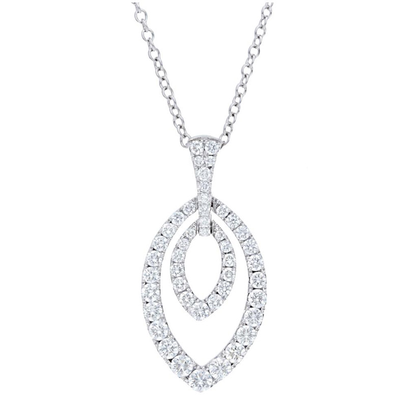 Deutsch Signature Pave Diamond Double Marquise Shape  Pendant