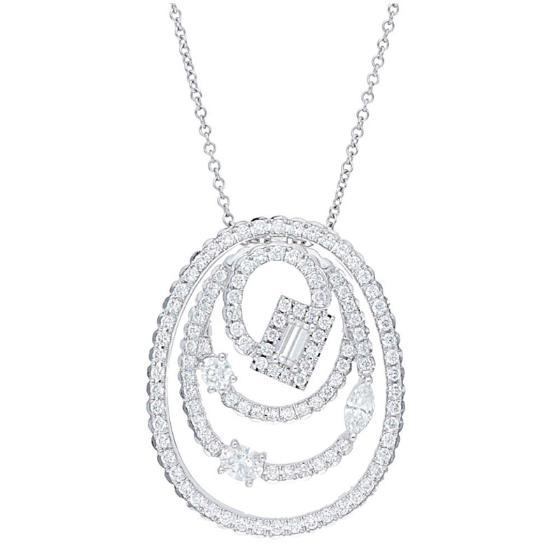 Deutsch Signature Pave Diamond Oval with Multi Diamond Pendant