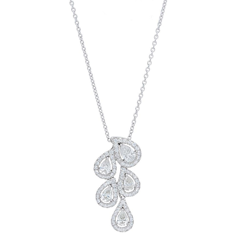 Deutsch Signature Pear Diamond Halo Cluster Pendant