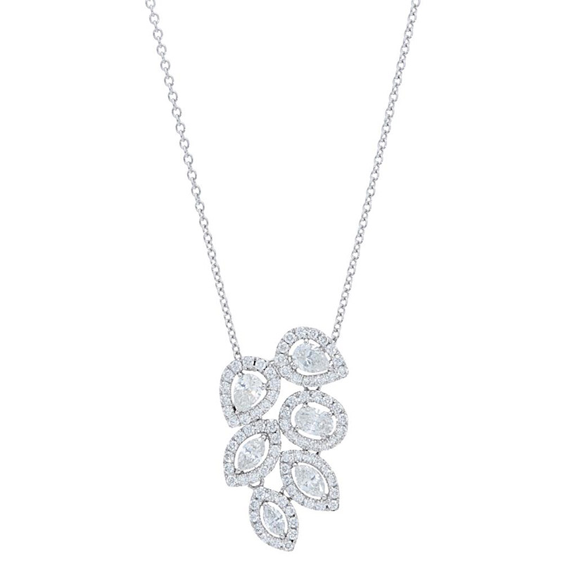 Deutsch Signature Marquise, Pear, and Oval Diamond Cluster Pendant
