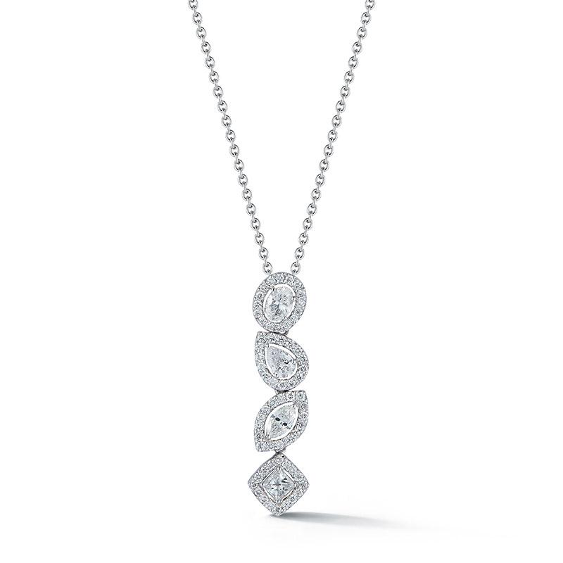 Deutsch Signature Multi-Shape Halo Diamond Linear Pendant