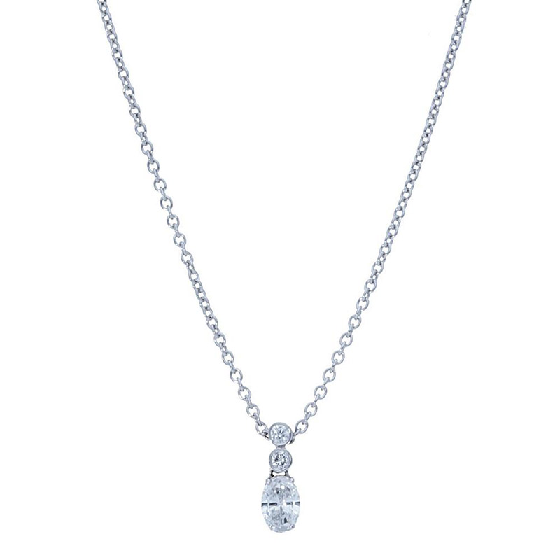 Deutsch Signature 2 Bezel Drop with Oval Diamond Pendant
