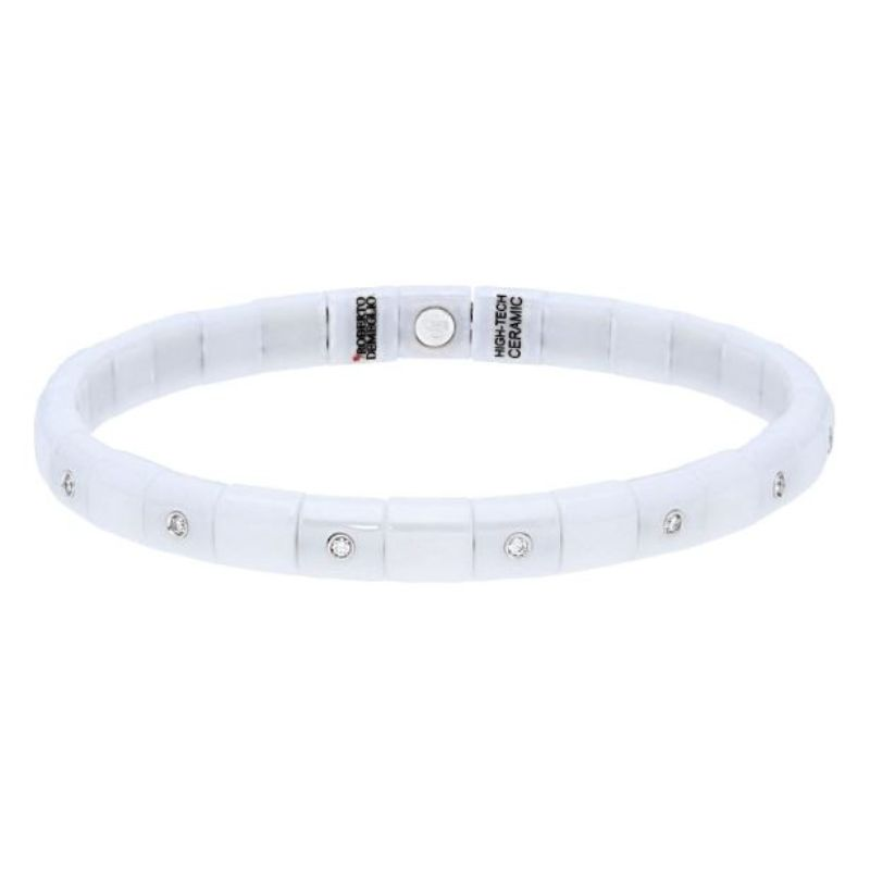 White Ceramic Stretch Bracelet with 15 Alternating Diamond Bezels