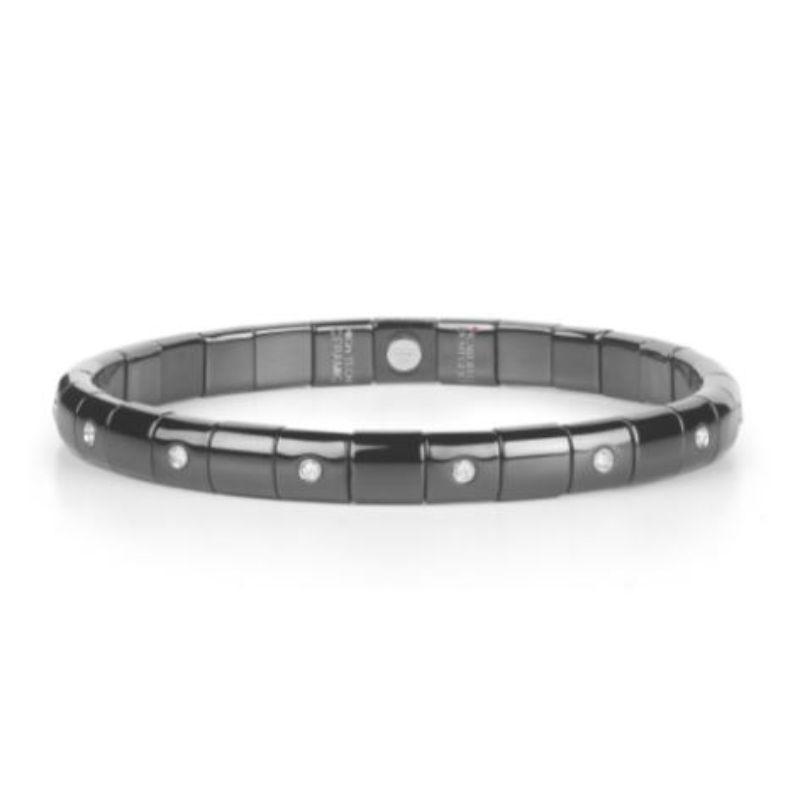 Black Ceramic Stretch Bracelet with 15 Alternating Diamond Bezels