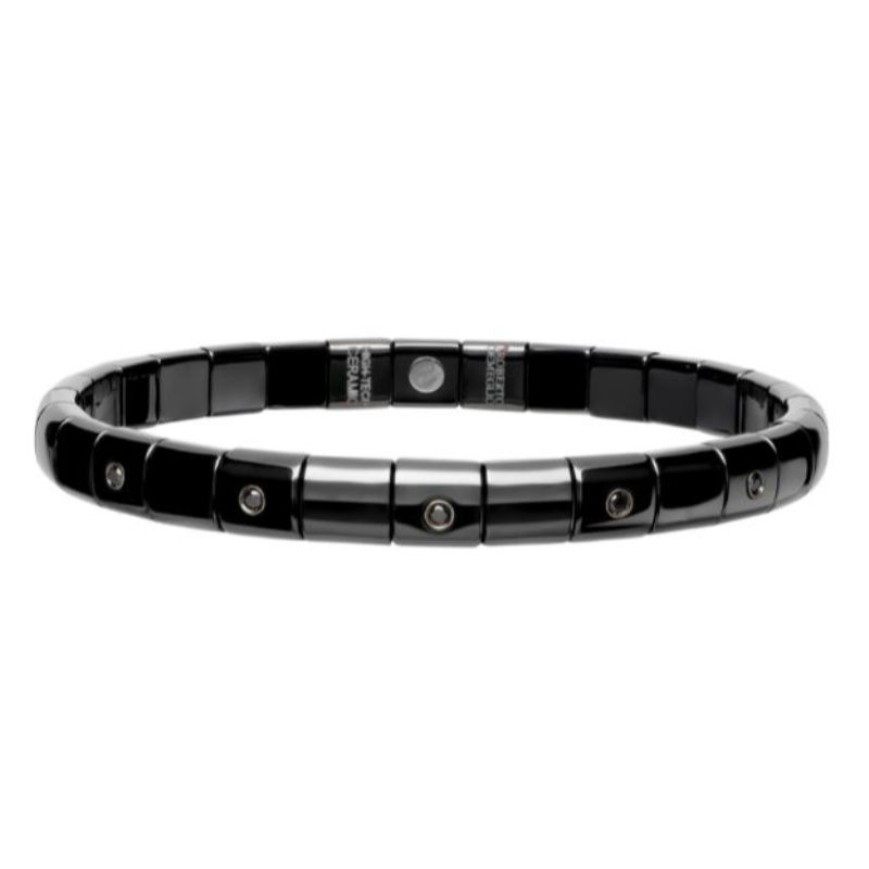 Black Ceramic Stretch Bracelet with 5 Alternating Diamond Bezels