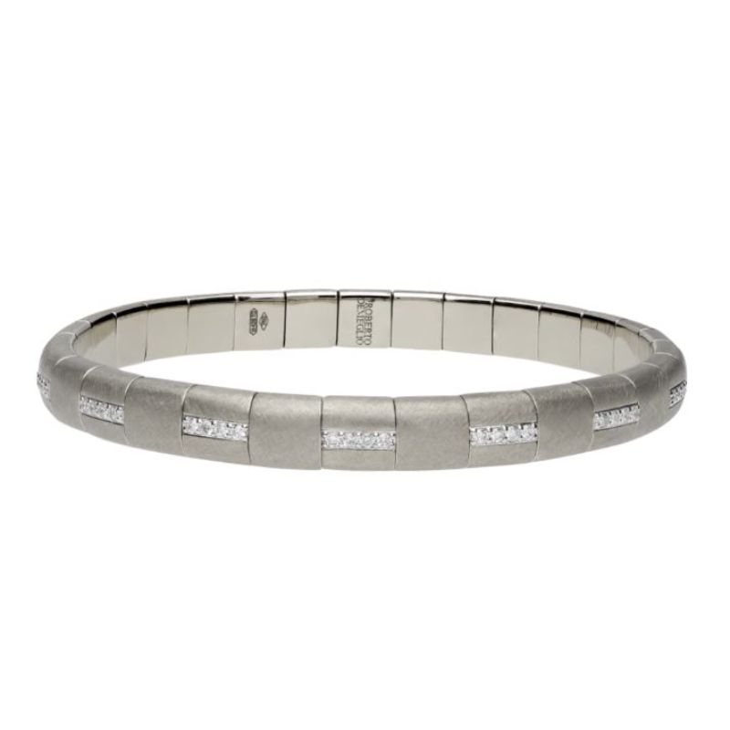 Matte 18K White Gold Stretch Bracelet with Alternating Diamonds