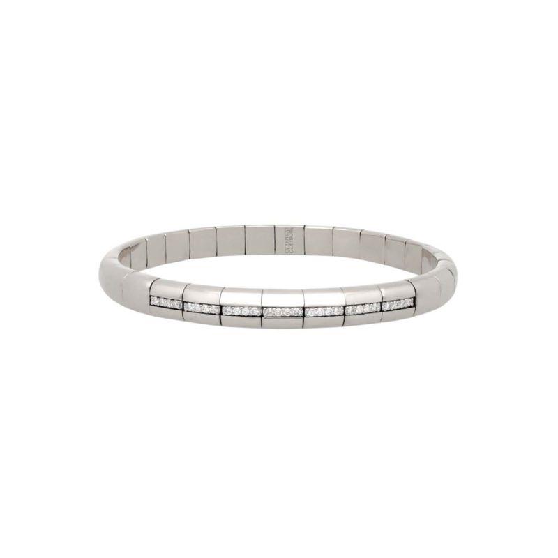 18K White Gold Stretch Bracelet with 7 Diamond Sections