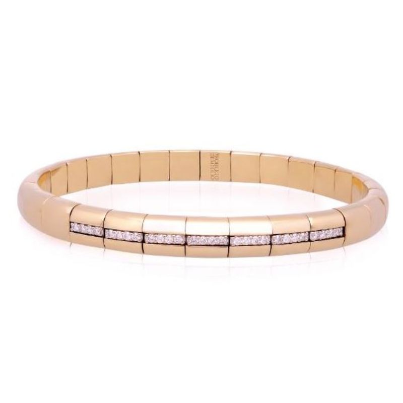 18K Rose Gold Stretch Bracelet with 7 Diamond Sections