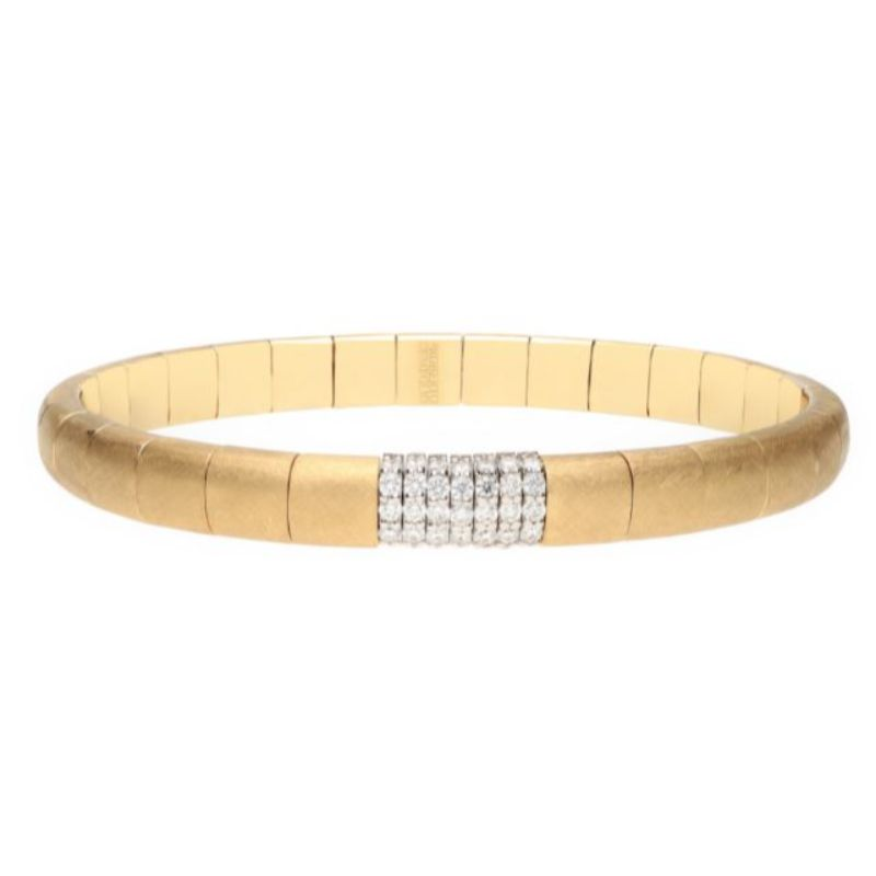 Matte 18K Yellow Gold Stretch Bracelet with 7 Diamond Sections