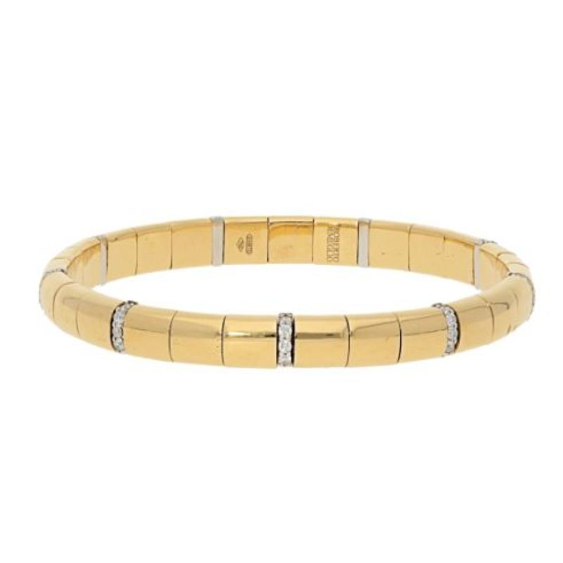 18K Yellow Gold Stretch Bracelet with Alternating Diamonds