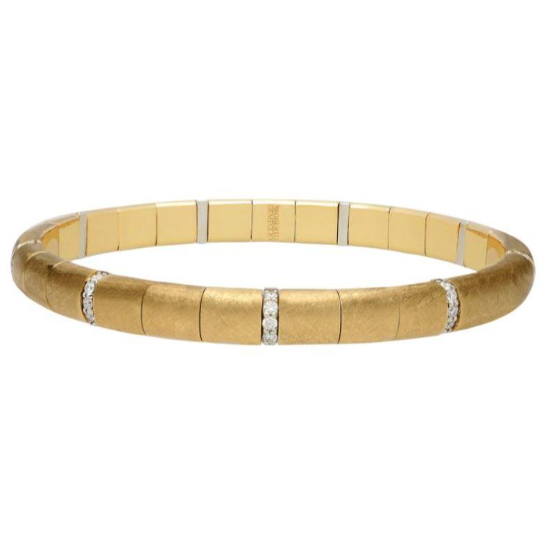 Matte 18K Yellow Gold Stretch Bracelet with Alternating Diamonds