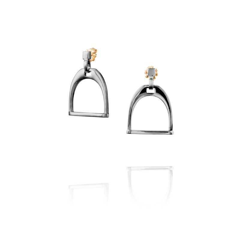 Vincent Peach Equestrian Stirrup Earrings