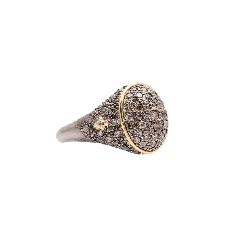 Old World Signet Pave Ring With Champagne Diamonds