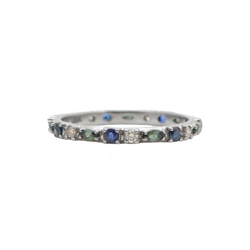 New World Marquis Tourmaline Dia Blue Sapphire Stack Ring