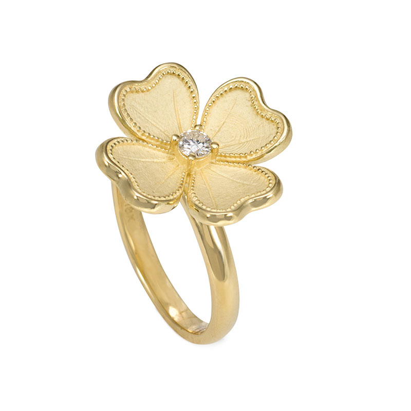Rudolf Friedmann Gold Diamond Flower Ring