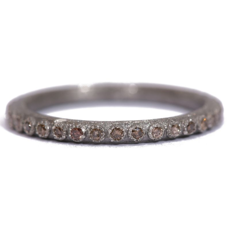 New World Bezel Champagne Diamond Stack Ring