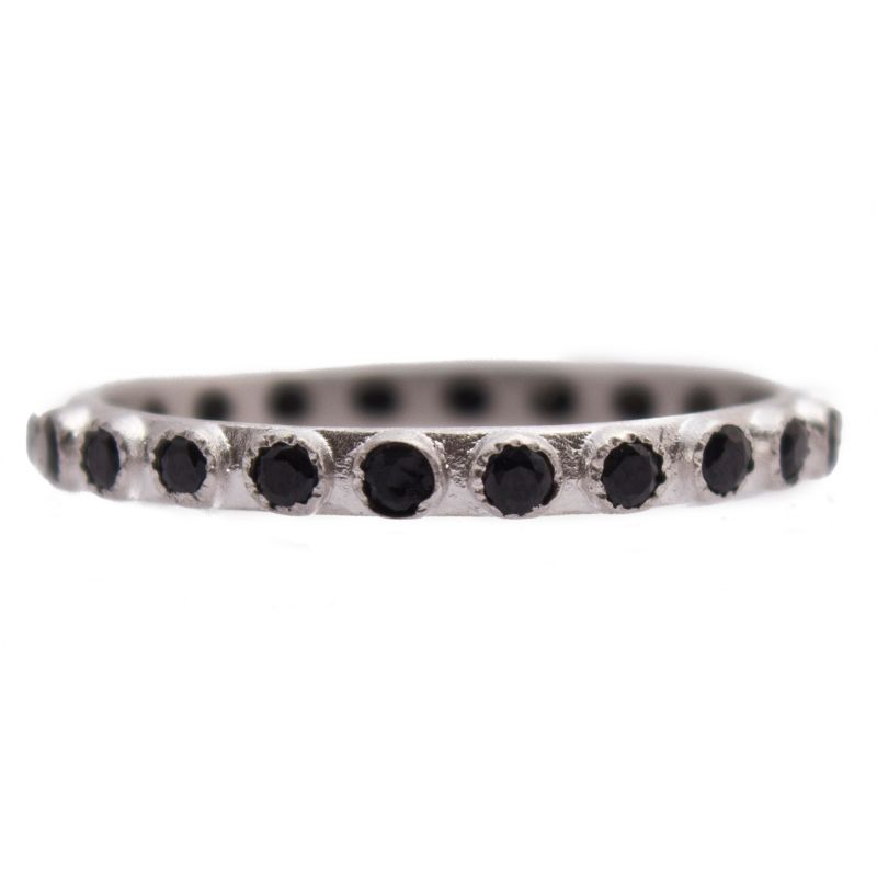 New World Silver 1.7Mm Black Spinel Stack Ring