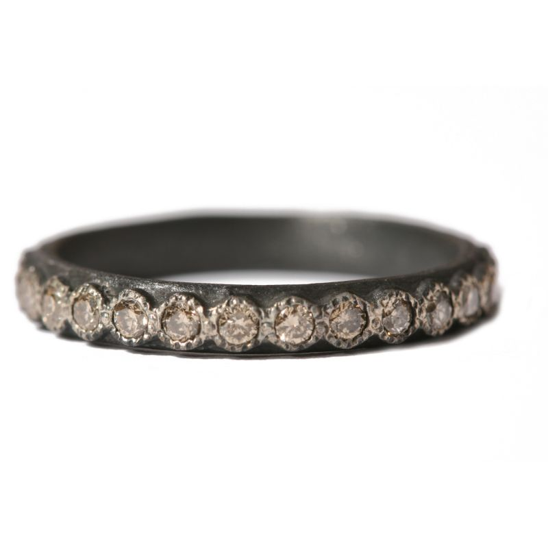 Ss 1.7Mm Champagne Diamond Stack Ring