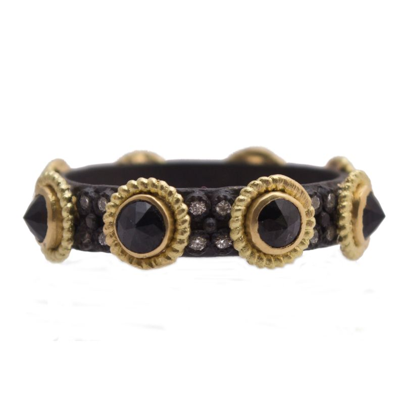 Old World Rose-Cut Black Sapphire And Diamond Stack Band Ring