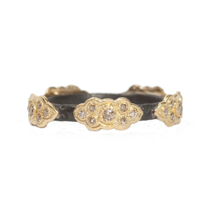 Old World Stack Band Ring With Champagne Diamond Scrolls