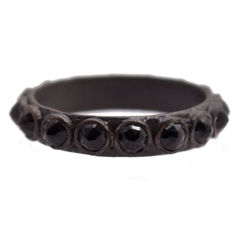 New World Darkened Silver 3Mm Black Spinel Stack Ring