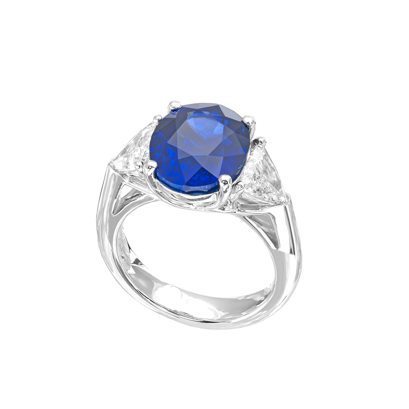 Jye's Sapphire and Trillion Diamond 3 Stone Ring