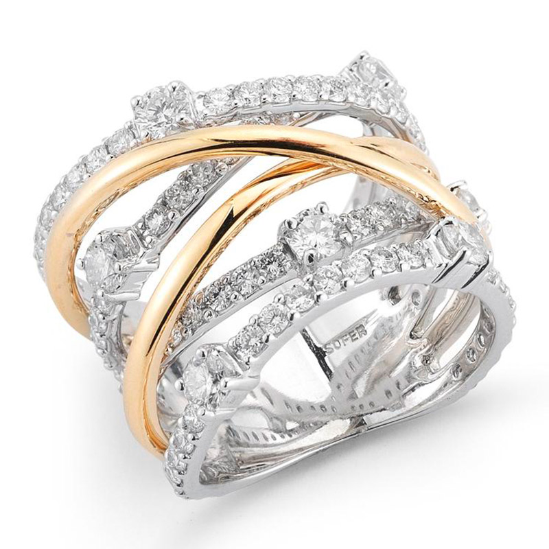Deutsch Signature Diamond and Gold Multi Row Ring with Scattered Diamonds