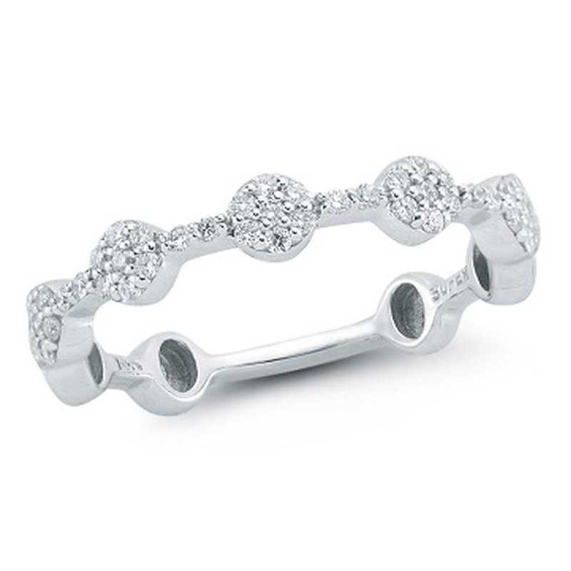 Deutsch Signature Pave Diamond Circle Bar Ring