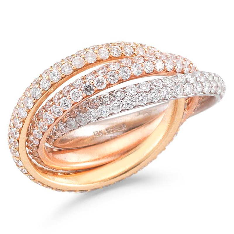 Deutsch Signature 3 Pave Diamond Interlocking Ring