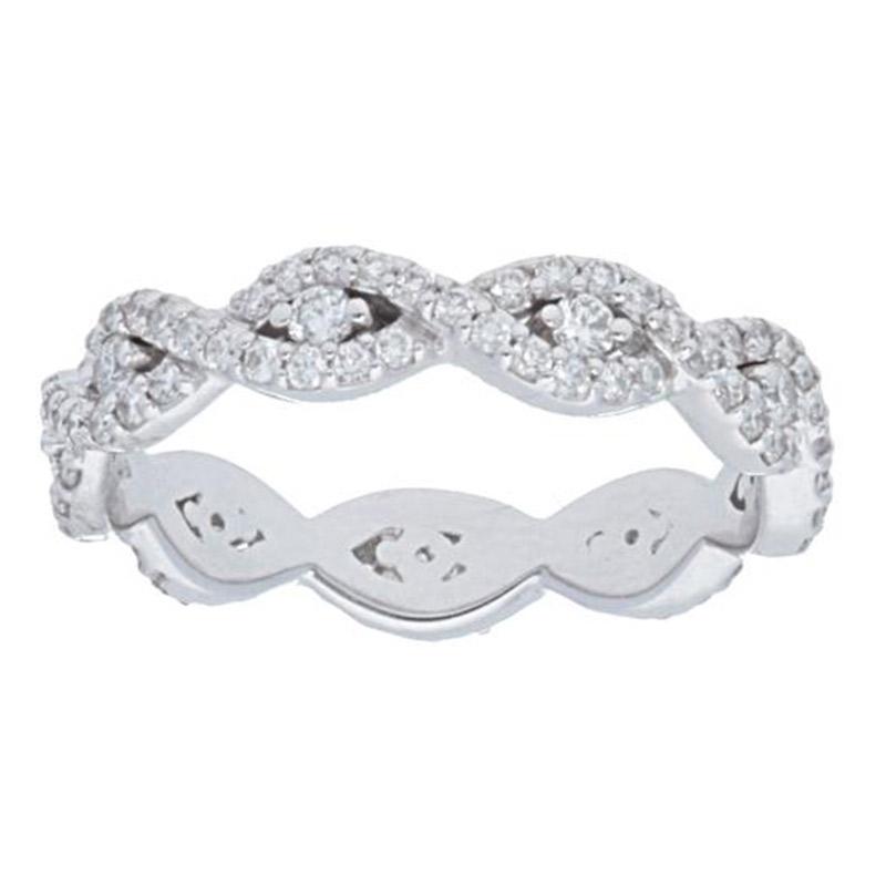 Deutsch Signature Eternity Pave Diamond Interlocking Wavy Ring with Round Center