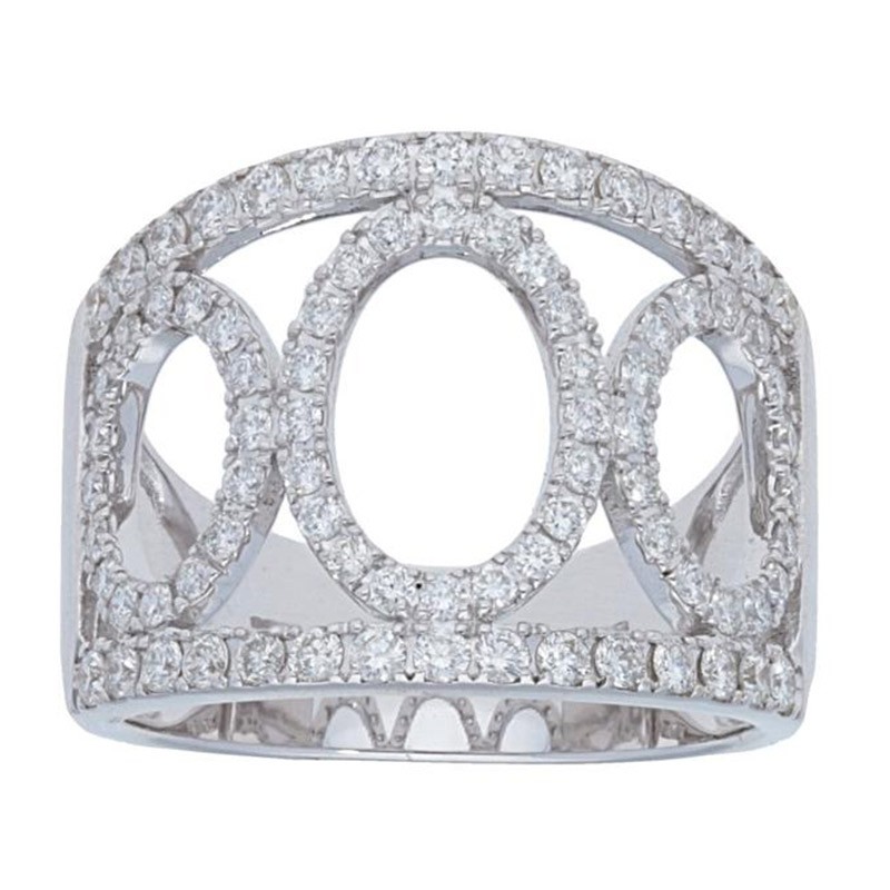 Deutsch Signature 3 Open Pave Oval Wide Diamond Ring