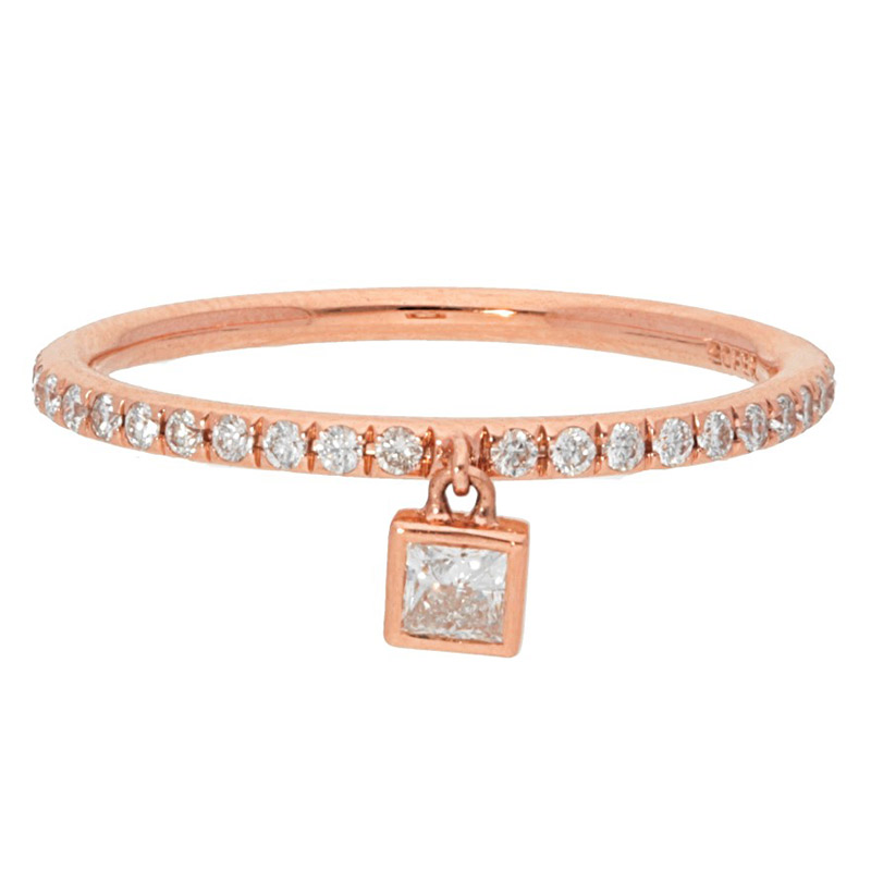 Deutsch Signature Diamond Pave Band with Dangling Charm Princess cut
