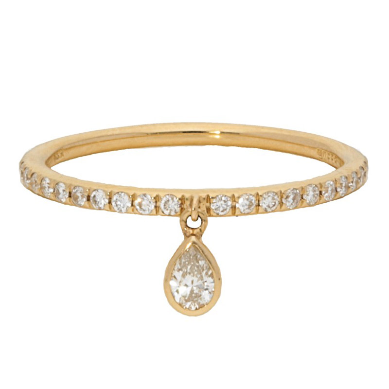 Deutsch Signature Diamond Pave Band with Dangling Charm Pear Shape