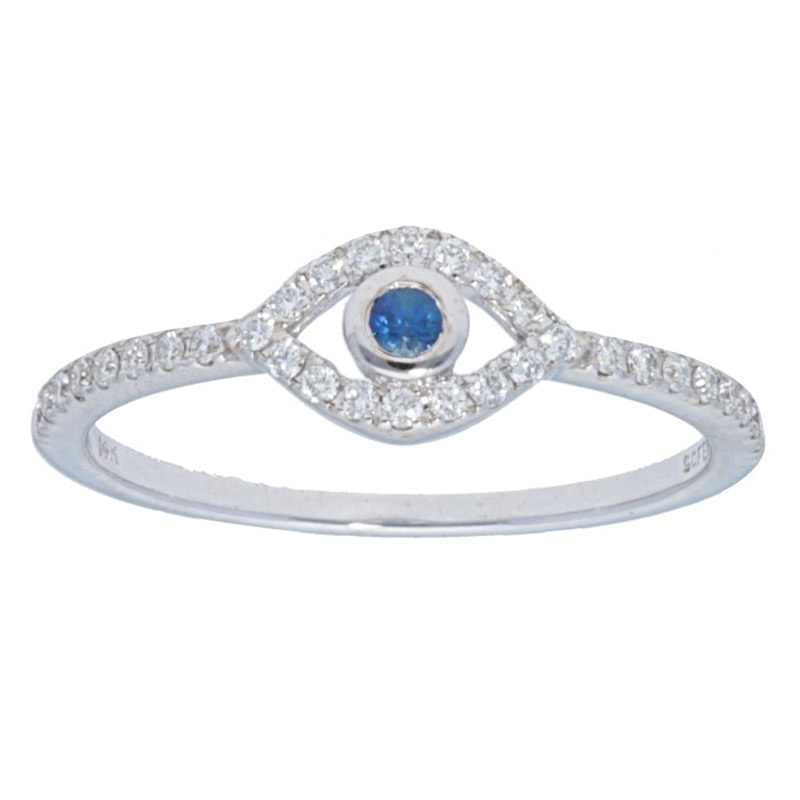 Deutsch Signature Diamond Pave Evil Eye Ring with Blue Sapphire