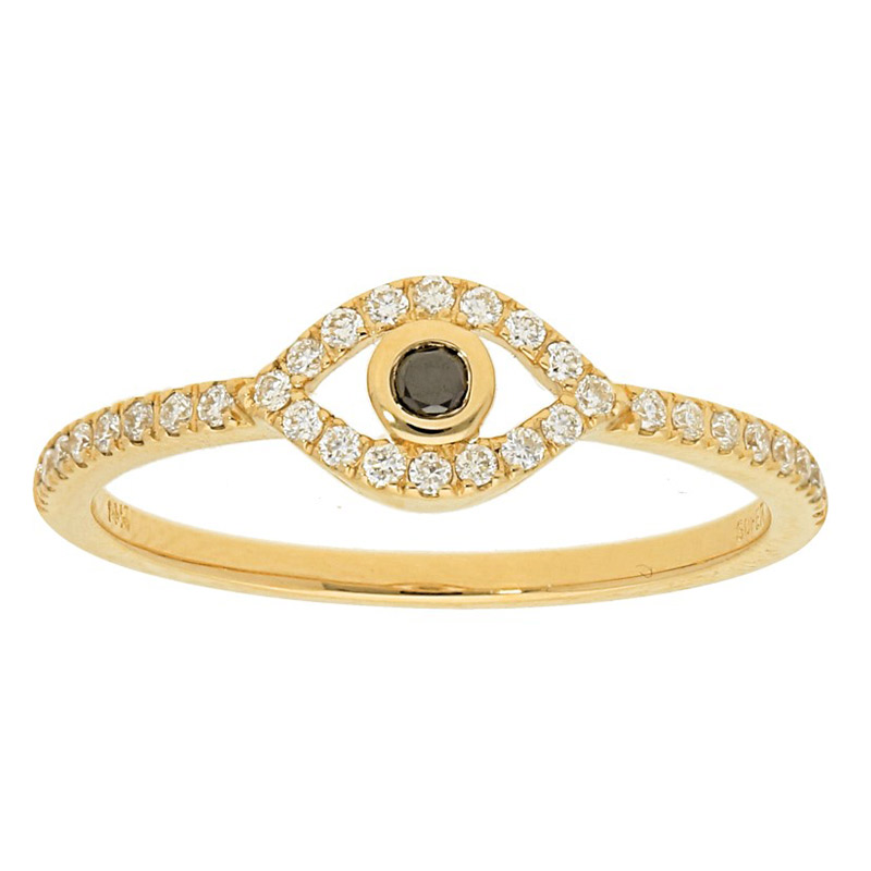 Deutsch Signature Diamond Pave Evil Eye Ring with Black Diamond