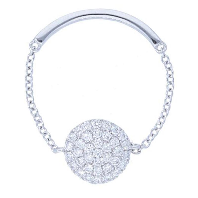 Deutsch Signature Pave Diamond Circle Shape Chain Ring