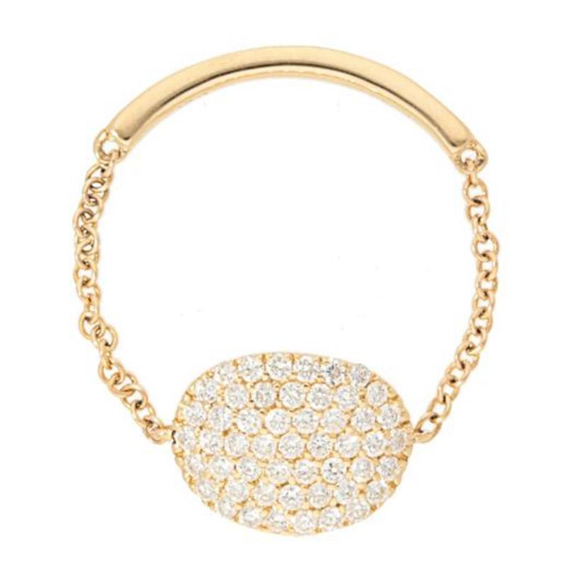 Deutsch Signature Pave Diamond Oval Shape Chain Ring