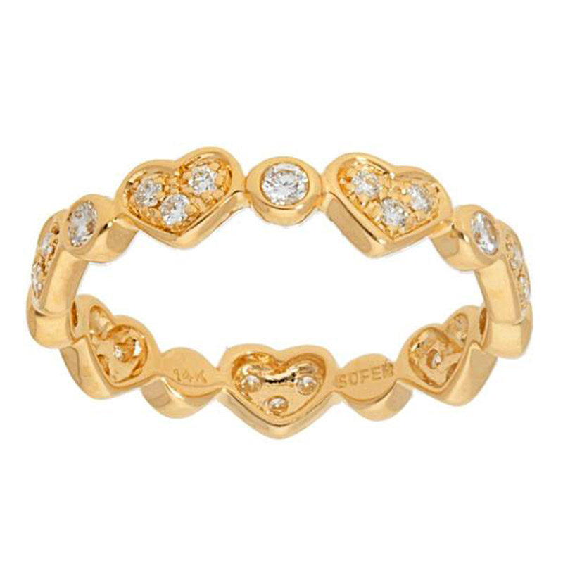 Deutsch Signature Alternating Heart and Round Shape Diamond Eternity  Band