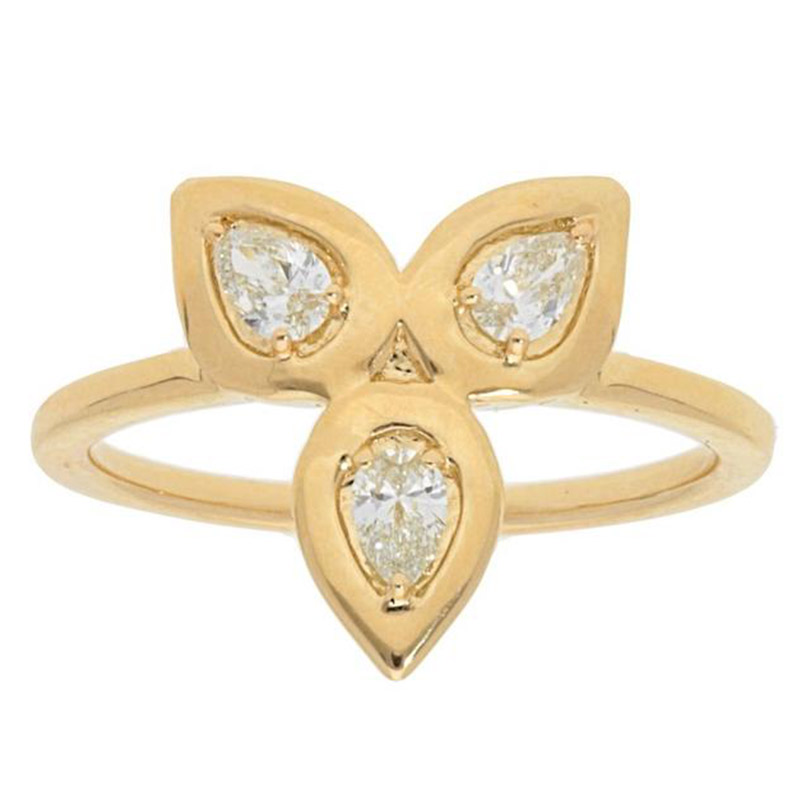Deutsch Signature Triple Pear Diamond Bezel Ring